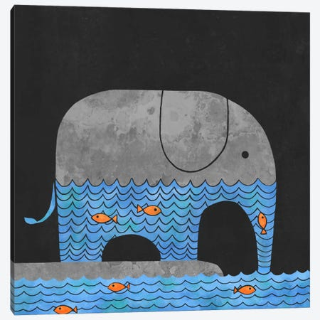 Thirsty Elephant Square Canvas Print #TFN211} by Terry Fan Canvas Artwork