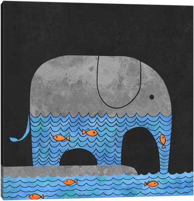 Thirsty Elephant Square Canvas Art Print