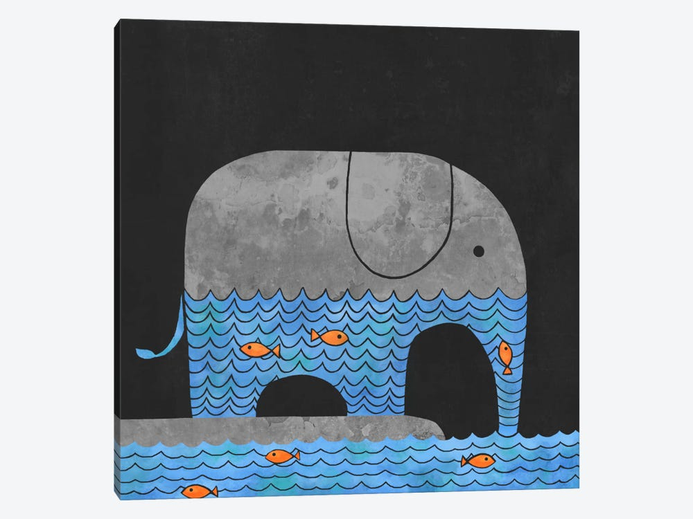 Thirsty Elephant Square by Terry Fan 1-piece Canvas Art Print