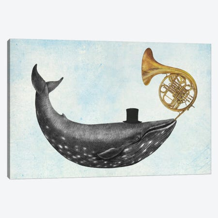 Whale Song Blue Canvas Print #TFN227} by Terry Fan Canvas Artwork