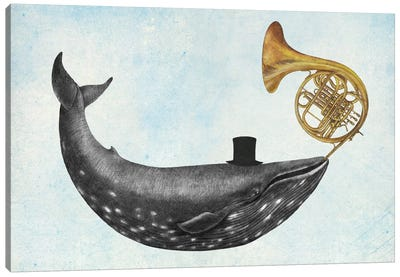 Whale Song Blue Canvas Art Print