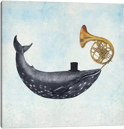 Whale Song Blue Square Canvas Art Print