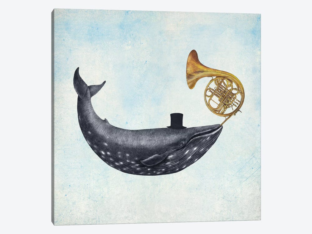 Whale Song Blue Square 1-piece Canvas Wall Art