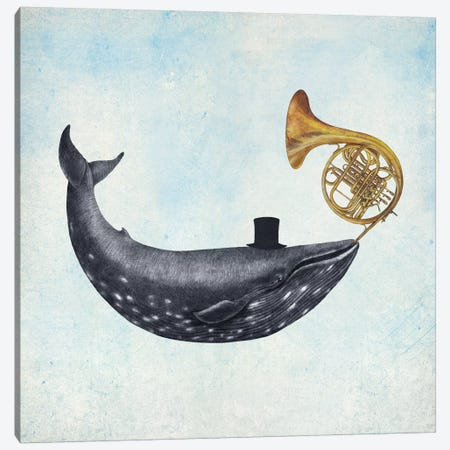 Whale Song Blue Square Canvas Print #TFN229} by Terry Fan Canvas Art Print