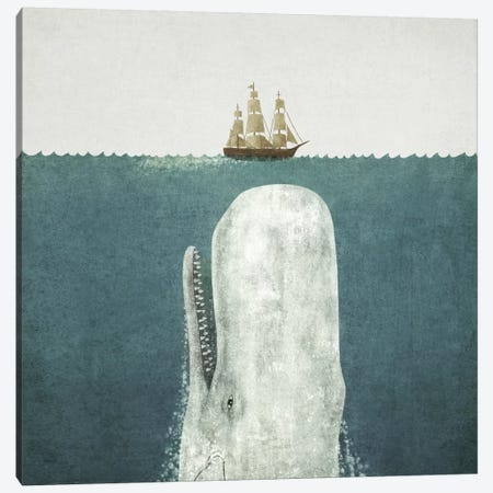 White Whale Square Canvas Print #TFN232} by Terry Fan Canvas Art