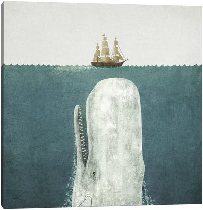 White Whale Square Canvas Art Print