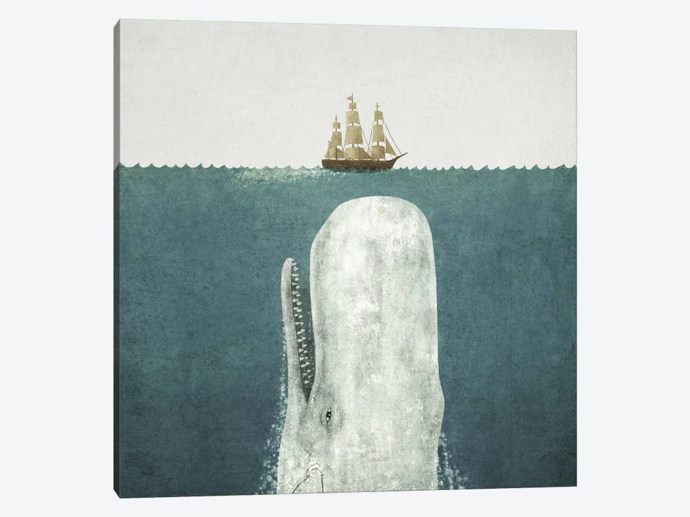 White Whale Square Canvas Art Print By Terry Fan Icanvas