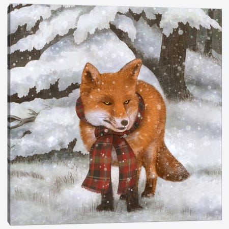 Winter Fox Square Canvas Print #TFN235} by Terry Fan Canvas Art Print