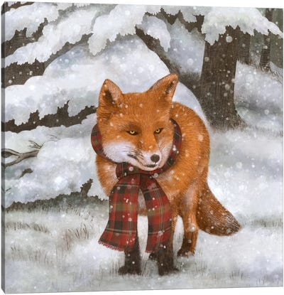 Winter Fox Square Canvas Art Print