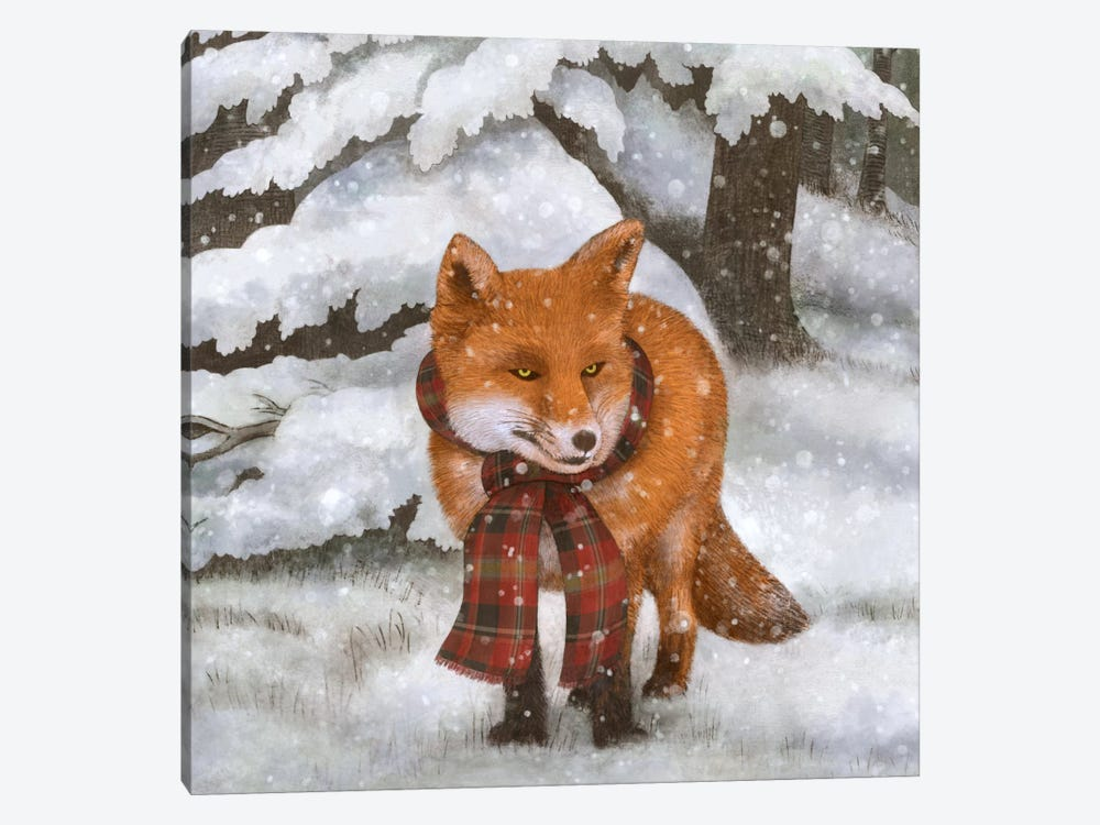 Winter Fox Square by Terry Fan 1-piece Canvas Print