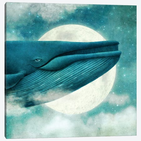 Dream Of The Blue Whale Square Canvas Print #TFN260} by Terry Fan Canvas Art Print