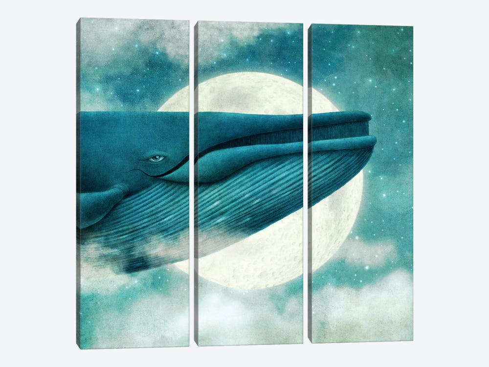 Dream Of The Blue Whale Square by Terry Fan 3-piece Canvas Print