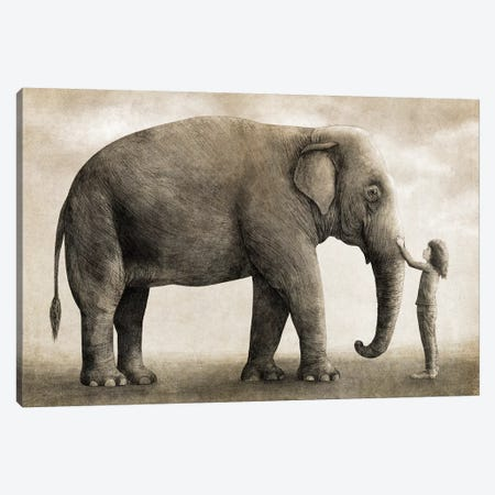 One Amazing Elephant Canvas Print #TFN267} by Terry Fan Canvas Artwork