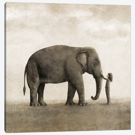 One Amazing Elephant Square Canvas Print #TFN268} by Terry Fan Art Print