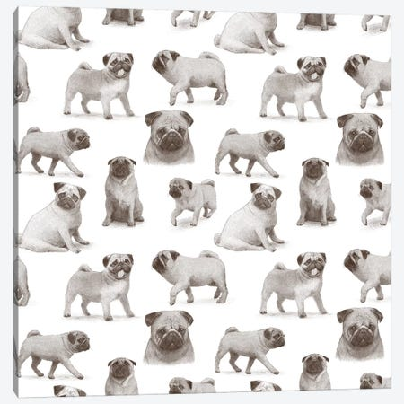 Pug Pattern Canvas Print #TFN271} by Terry Fan Canvas Wall Art