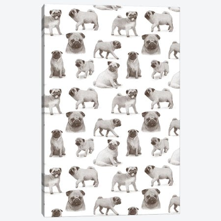 Pug Pattern Portrait Canvas Print #TFN272} by Terry Fan Canvas Wall Art