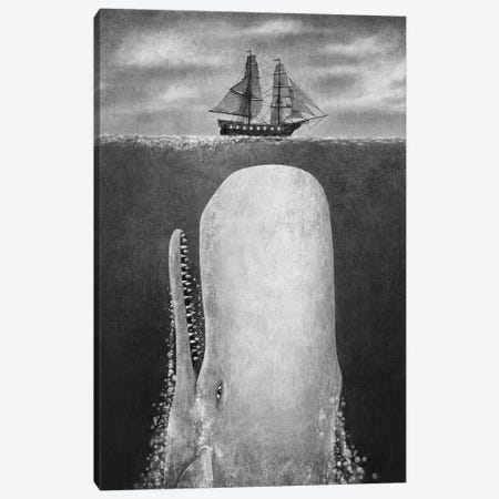 The Whale Grayscale Canvas Print #TFN277} by Terry Fan Art Print