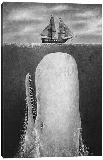 The Whale Grayscale Canvas Art Print