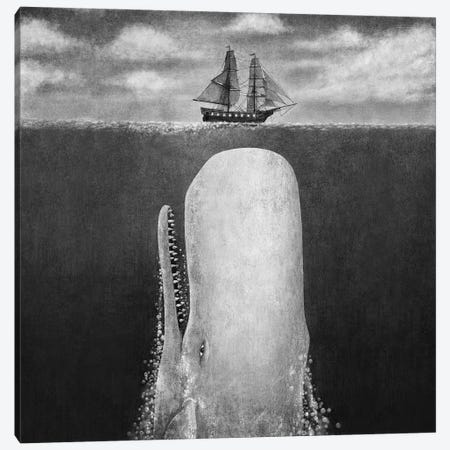 The Whale Grayscale Square Canvas Print #TFN278} by Terry Fan Canvas Wall Art