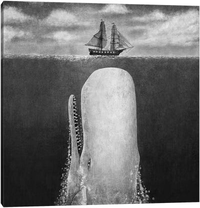 The Whale Grayscale Square Canvas Art Print