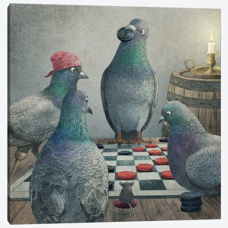 Checker Playing Pigeons 3-Piece Canvas #TFN282} by Terry Fan Canvas Art Print
