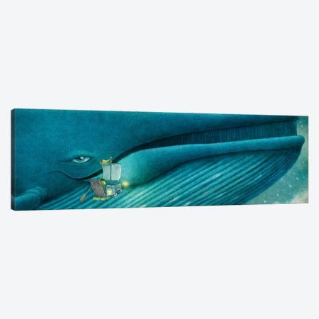 Finn And The Blue Whale Canvas Print #TFN293} by Terry Fan Canvas Art