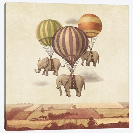 Flight Of The Elephants IV Canvas Print #TFN294} by Terry Fan Canvas Print
