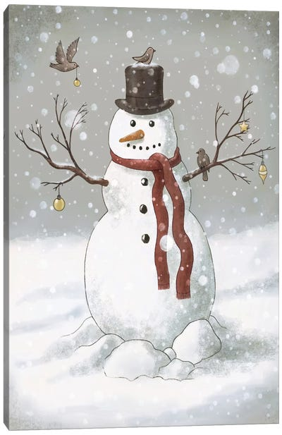 Christmas Snowman Canvas Art Print