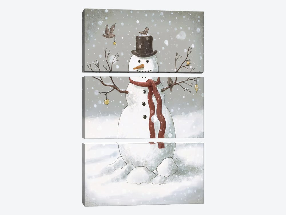 Christmas Snowman by Terry Fan 3-piece Canvas Art