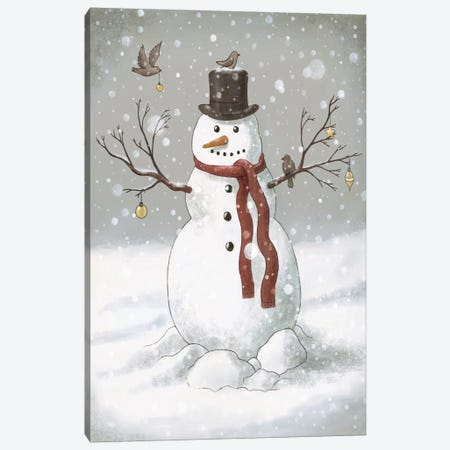 Christmas Snowman Canvas Print #TFN29} by Terry Fan Art Print