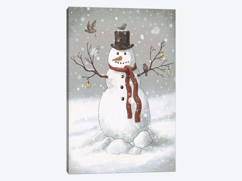 Christmas Snowman by Terry Fan 1-piece Canvas Wall Art