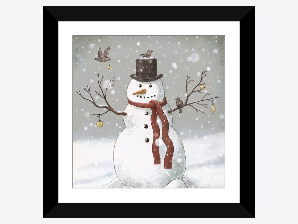 Christmas Snowman Square Framed Art Print By Terry Fan