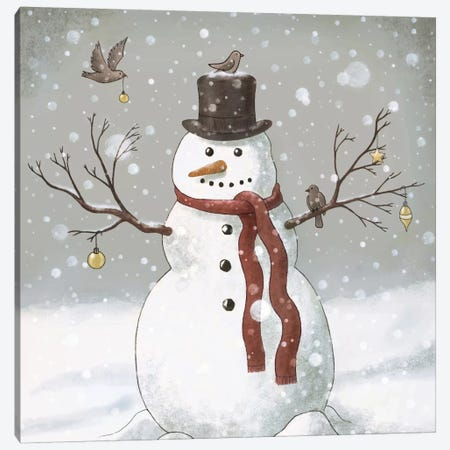 Christmas Snowman Square Canvas Print #TFN30} by Terry Fan Canvas Artwork