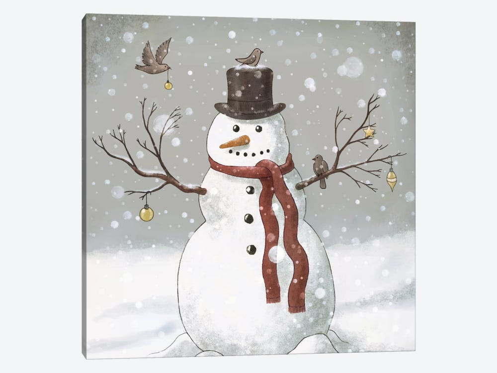 Christmas Snowman Square by Terry Fan 1-piece Canvas Wall Art