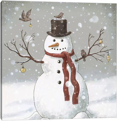 Christmas Snowman Square Canvas Art Print