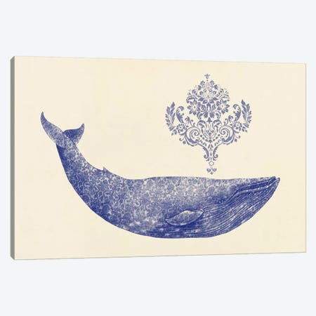 Damask Whale #1 Canvas Print #TFN38} by Terry Fan Canvas Art