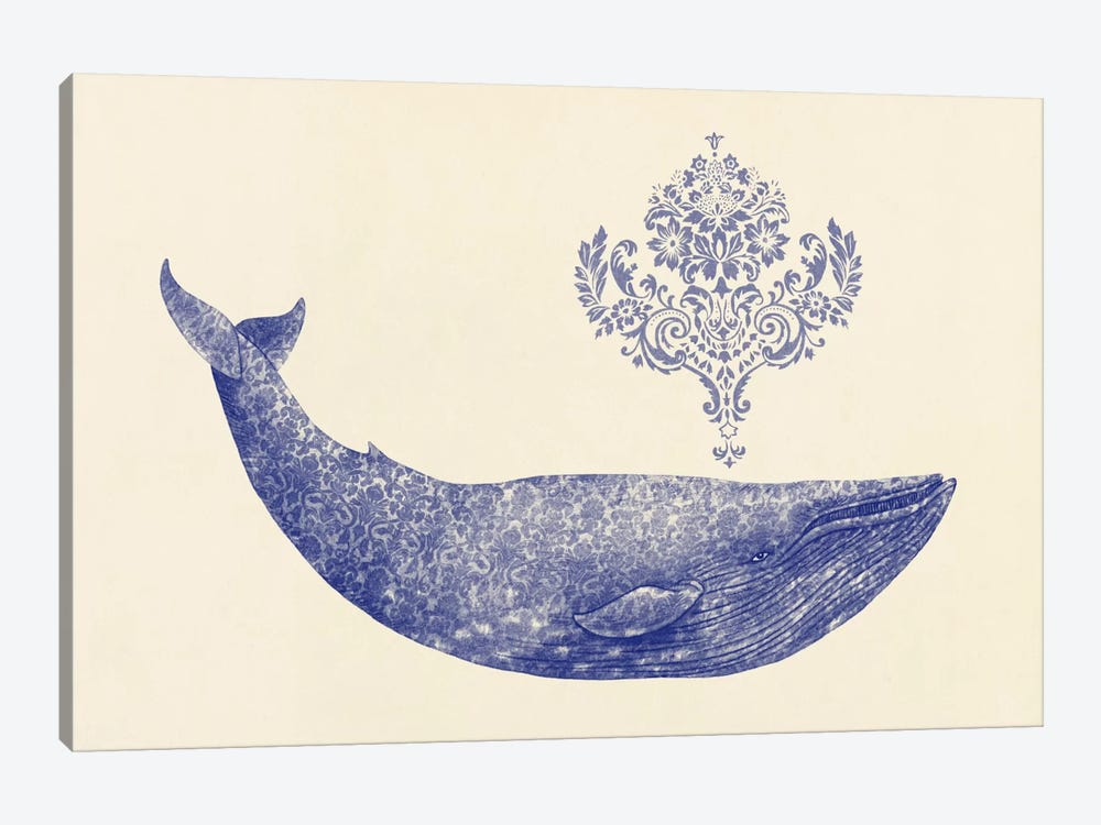 Damask Whale #1 by Terry Fan 1-piece Canvas Wall Art