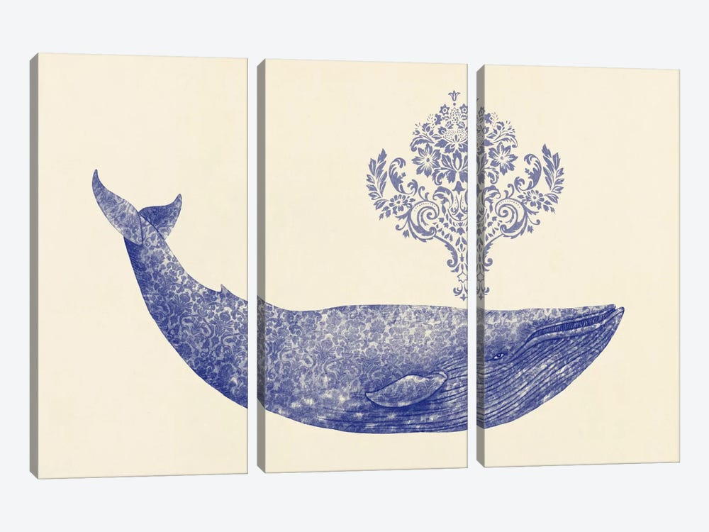 Damask Whale #1 by Terry Fan 3-piece Canvas Artwork