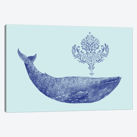 Damask Whale #2 Canvas Print #TFN39} by Terry Fan Canvas Artwork
