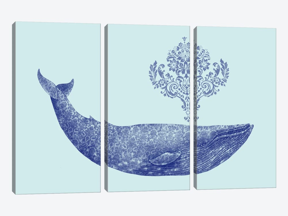 Damask Whale #2 by Terry Fan 3-piece Canvas Print