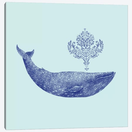 Damask Whale Square #1 Canvas Print #TFN40} by Terry Fan Canvas Art Print