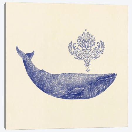 Damask Whale Square #2 Canvas Print #TFN41} by Terry Fan Art Print