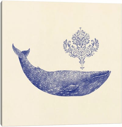 Damask Whale Square #2 Canvas Print #TFN41