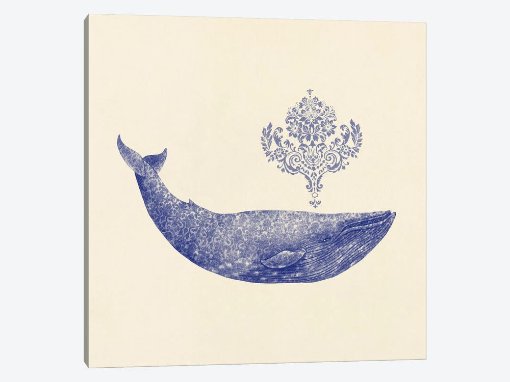Damask Whale Square #2 by Terry Fan 1-piece Canvas Artwork