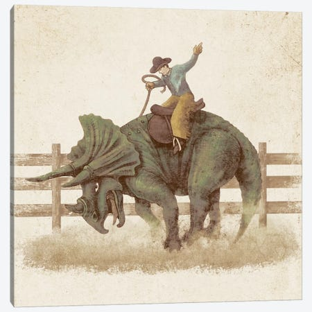 Dino Rodeo Canvas Print #TFN47} by Terry Fan Canvas Art