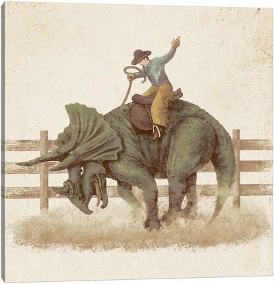 Dino Rodeo Canvas Art Print