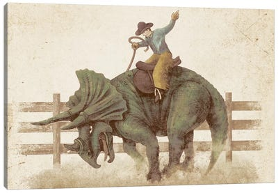 Dino Rodeo Landscape Canvas Art Print