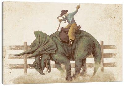 Dino Rodeo Landscape Canvas Print #TFN48