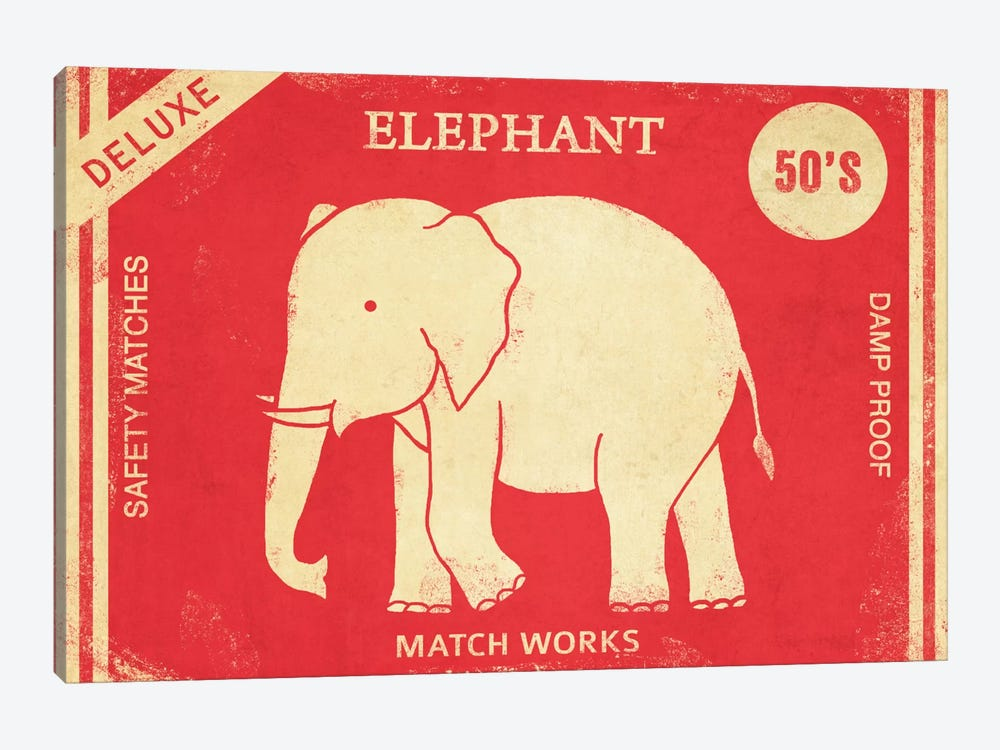Elephant Safety Matches by Terry Fan 1-piece Canvas Artwork