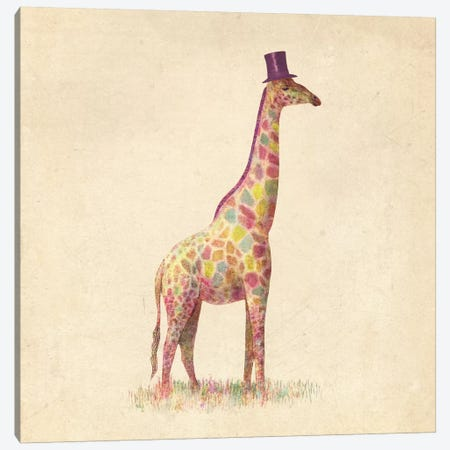 Fashionable Giraffe Square Canvas Print #TFN74} by Terry Fan Art Print